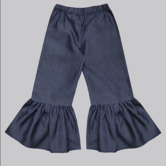 Girls Dark Denim Ruffle-Hem Bell Bottom Pants